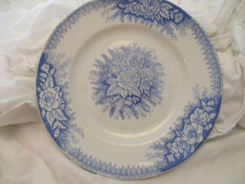 SAINT-AMAND Antique French Blue Transferware Ironstone JARDINIERE PLATES Floral