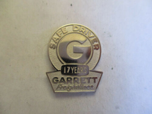 Garrett 17yr Trucking Truck Driver Employee Safety Award Pin