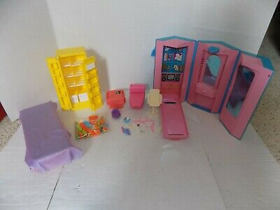 Vintage Mattel Barbie Dream Furniture Bed Refrigerator Roll Up Office & More