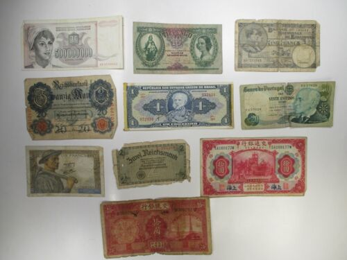 Vintage Lot of 10 Mixed World Banknotes Assorted Foreign Paper Currency