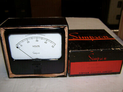 Vintage Simpson Analog Panel Meter Model 59 0-50 Ac Volts