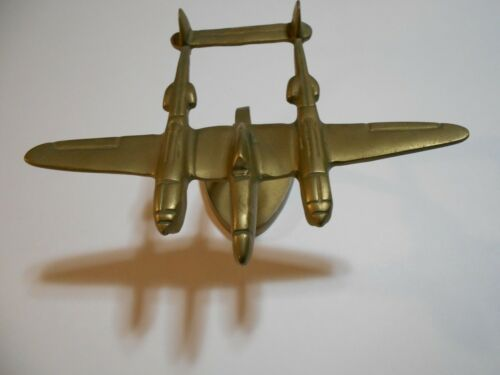Vintage WWII P 38 Airplane Trench Art Brass on Stand
