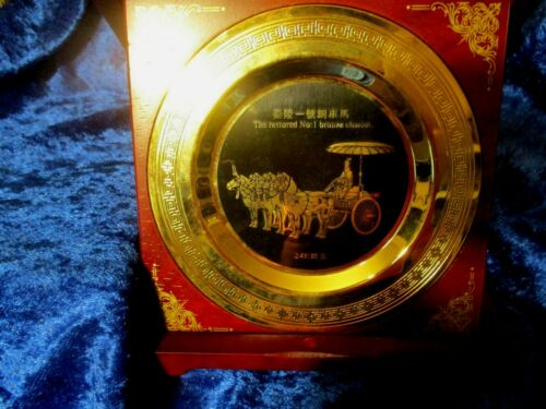 The Terra Cotta Army of China Souvenir Plate 24 K In Wooden Display Case