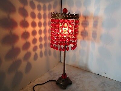 Boudoir Table Lamp Red acrylic crystal bead shade finial copper tone 20