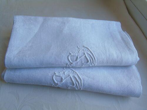 "French set of  2 table linen napkins  monogram   ""S G "" vintage"