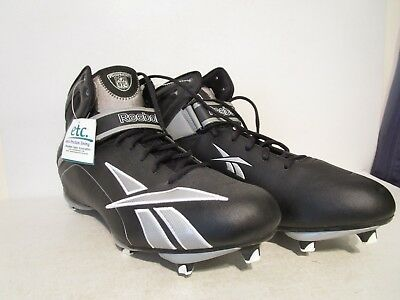 843b94bf770b03 Reebok Mens NFL Workhorse D3 Football Cleats Black  Silver Size 17
