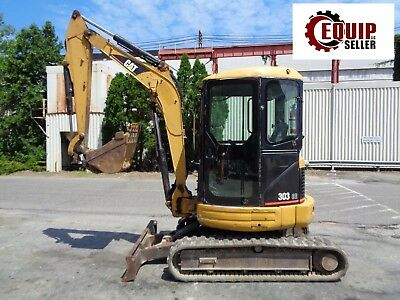 Caterpillar 303cr Mini Excavator Loader Backhoe - Enclosed Cab - Dozer Blade