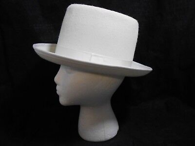Wool Felt Top Hat Hat Ivory USA Made Winter Hat Formal Prom Wedding SMALL 9970