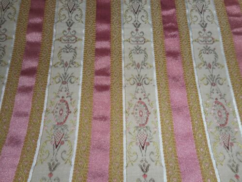 Vintage French Lisere Medallion Stripe Brocade Satin Fabric ~ Rose Pink Gold