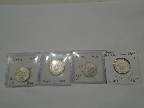 Russia  1924, 1925,1929 and 1930 Silver 20 Kopeks Y88 Choice Uncirculated