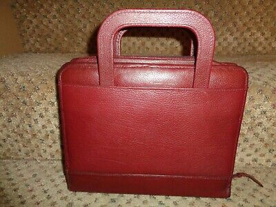 Vtg Franklin Quest Covey Usa 2pc Briefcase Burgundy Leather Planner Matching Set