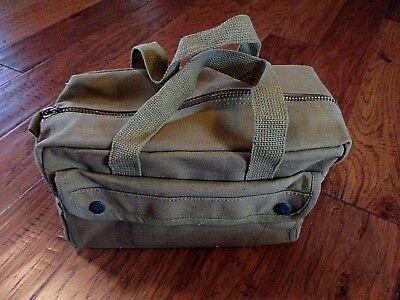 HEAVY DUTY GREEN MILITARY STYLE MECHANICS HARD BOTTOM TOOL BAG BRASS ZIPPER Cotton Bed Bag