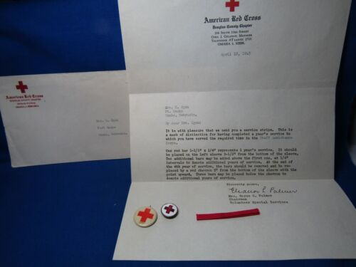 WWII American Red Cross Pins & 1945 Dated Letter Lot Of 4