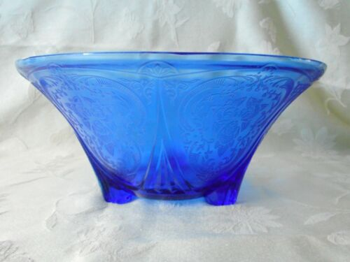 Cobalt Blue Royal Lace 3 Footed Straight Edge Bowl