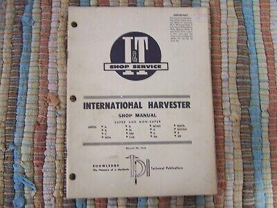 International Harvester Farm Tractor Shop Manual Super Non Super Series A B C