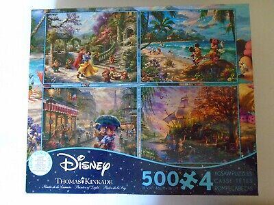 Disney Thomas Kinkade 4 in 1 500 Pieces Jigsaw Puzzle NEW Snow White Mickey