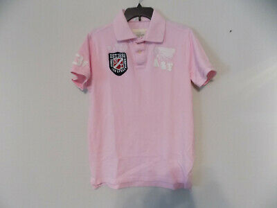 Men's ABERCROMBIE FITCH Muscle Indian Head Pink Polo Shirt Size Large Cotton