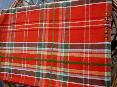 COUNTRY PLAID TARTAN TABLECLOTH OBLONG 58X90''ORANGE GREEN YELLOW COTTON](Tartan Plaid Tablecloth)