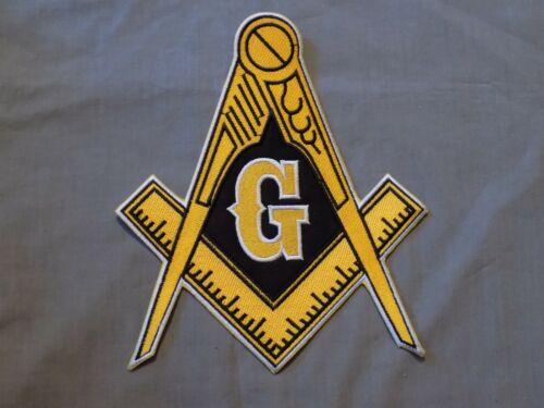 """Large Masonic Master Mason 9"""" Iron On Patch Black Sew Fraternity NEW!"""
