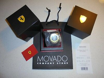 Mens Black Yellow Gold Tone Ferrari Scuderia Aero Evo Watch   Nib