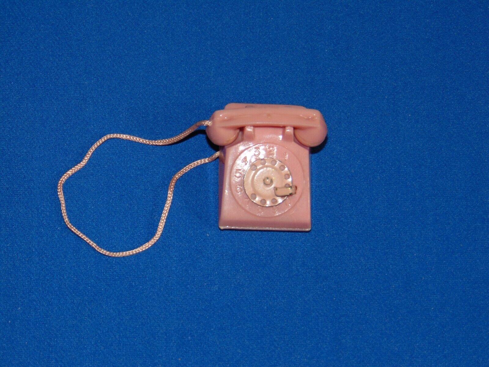 VINTAGE BARBIE SUBURBAN SHOPPER EARLY PINK TELEPHONE METAL DIAL PHONE - $53.50