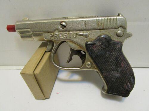 VINTAGE KILGORE PRESTO  NICKEL PLATED CAST IRON CAP GUN