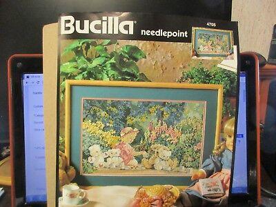 """Bucilla Needlepoint Kit Tea Party #4705 16"""" x 10"""" Dated 8/18/1995"""