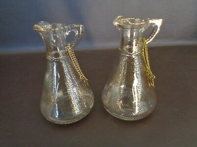 Vtg. Cruet Set Oil & Vinegar With Gold Accents No Glass Stoppers (Cat.#15A007)