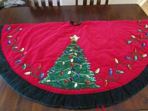 """Vintage VGC 54"""" Handsewn Red Velvet Sequined Christmas Tree Skirt"""
