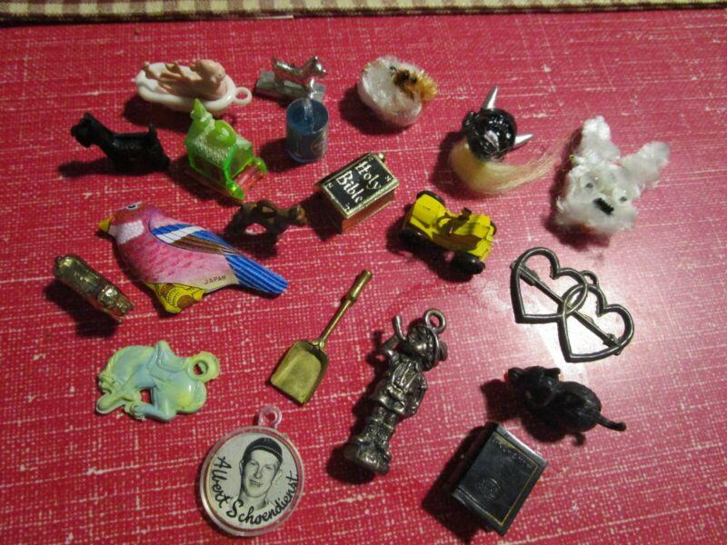 Vintage Cracker Jack Bubble Gum metal & plastic Prizes LOT of 20