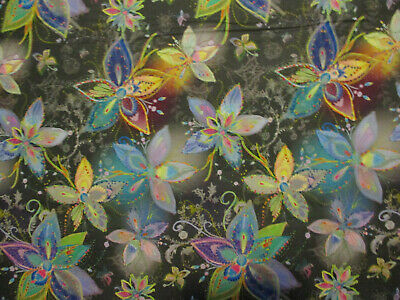 Metallic Flowers Enchanted Florals Gold Metallic Thread Black Cotton Fabric BTHY (Metal Quilting Thread)