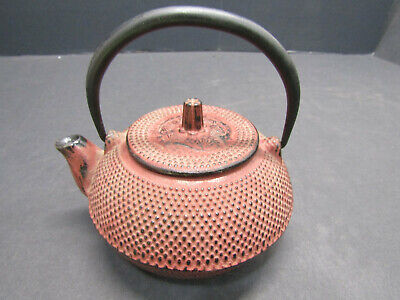 Cast Iron Square Teapot (OLD VINTAGE CAST IRON PINK JAPANESSE STYLE STONE TEA POT SOLID NICE)