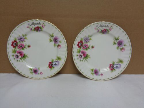 """Lot of 2 Royal Albert flower of the month March Anemones 8"""" Plate Bone China"""