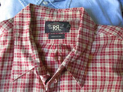 Mens RRL Latch Collar Chin Strap Work Wear Shirt XL