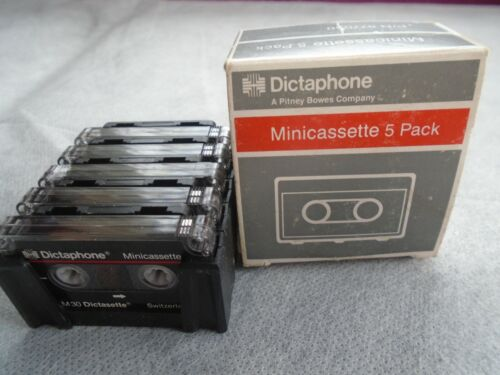Lot of 5 Dictaphone Minicassette Tapes M30 Dictasette w/ Case