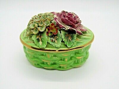 Vintage Italian Porcelain Green Floral Trinket Box With Gold Accents - AS IS