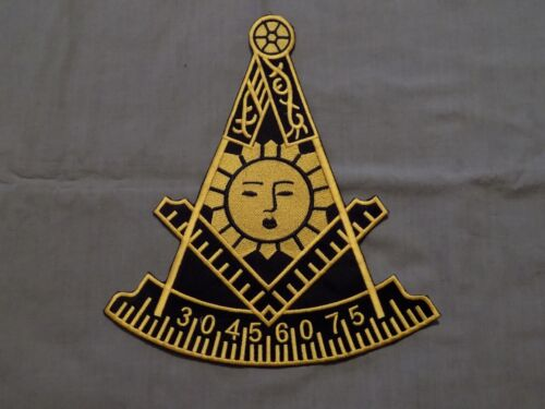 """Large Masonic Past Master 10"""" Iron On Patch with Square Black Yellow Sun NEW!"""