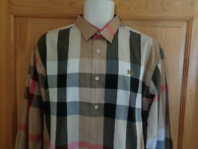 Burberry London Black tan plaid logo long sleeve shirt men's XL