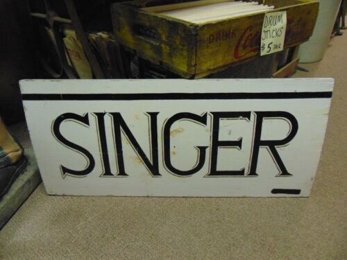 Wooden SINGER Sign sewing machine vintage advertisement primitive rustic stitch
