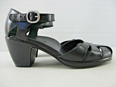 DANSKO WOMEN'S BLACK LEATHER OPEN SIDES CHUNKY HEEL DRESS SHOES  EU 39  US 9