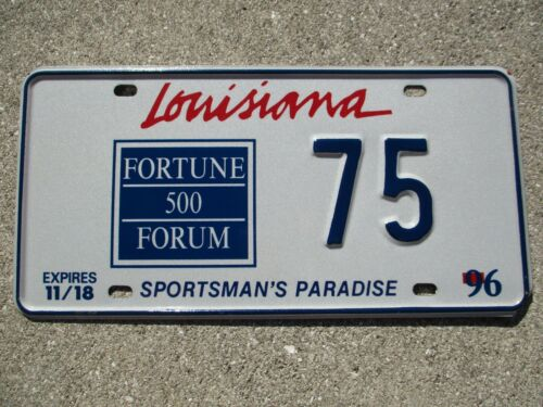 Louisiana 1996 Fortune 500 Forum license plate #    75