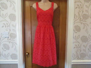 TU SIZE 14 red broderie anglaise strappy summer dress