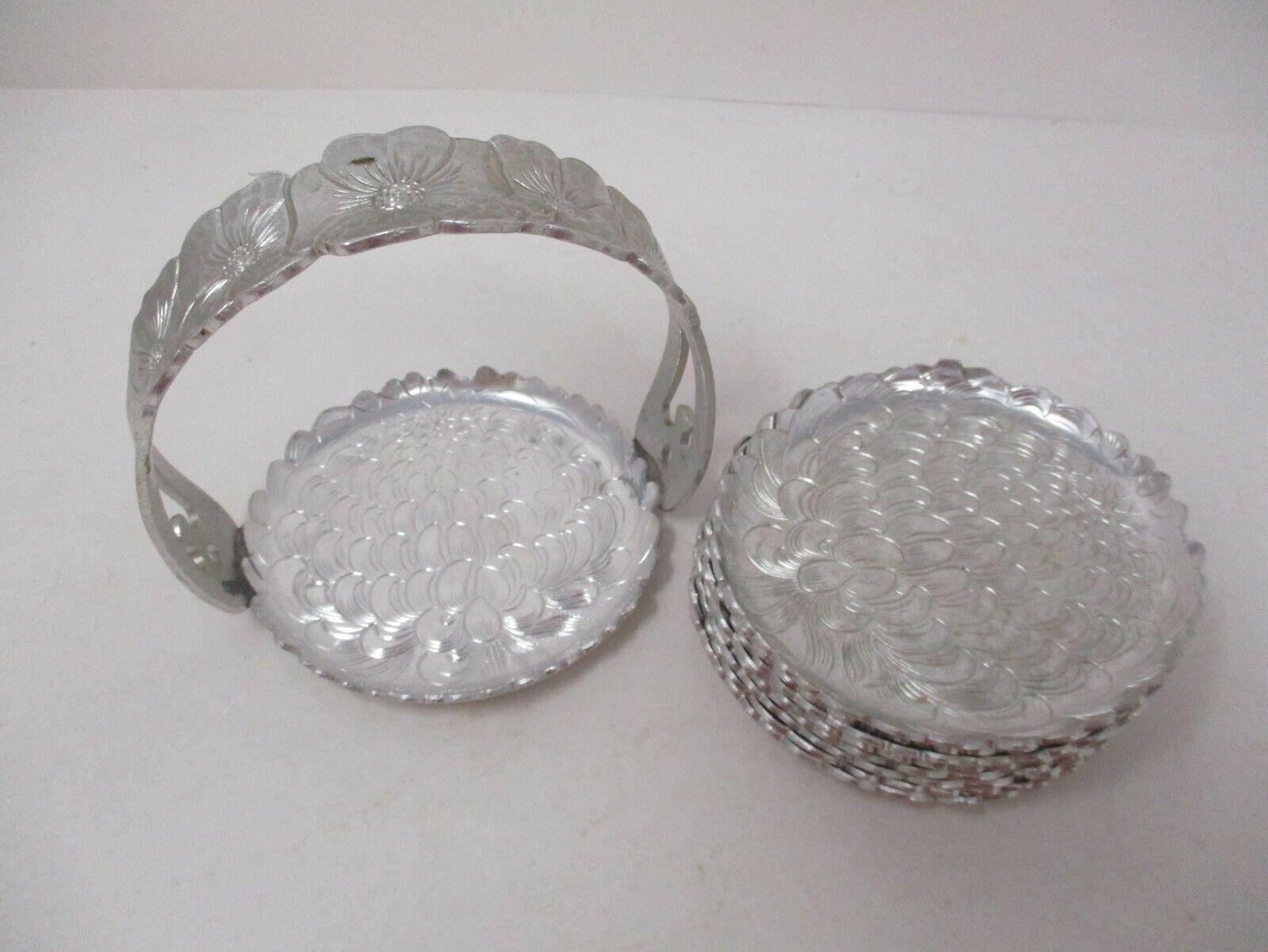 Vintage Continental Silver Co Aluminum 8 Pc Wild Rose Coaster Set In Basket