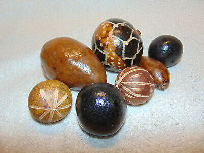 Decorative Wood Black Brown Balls Home Decor, Lot of 7 - Decorative Balls