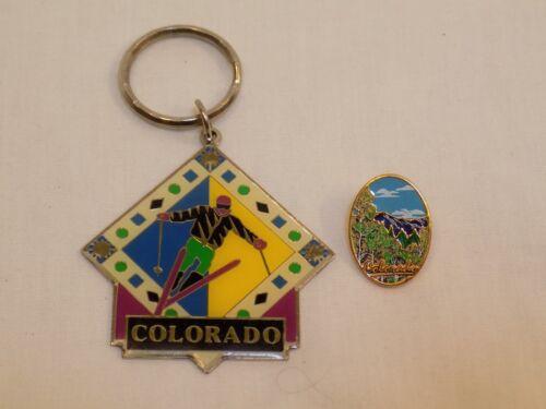 Colorado Skiing Keychain Enamel Pin Lot Set Mountains Vintage Green Blue Skier