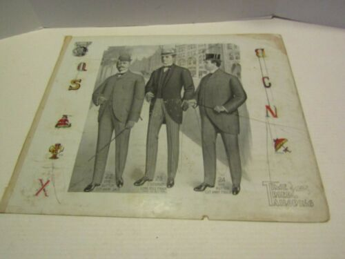 ANTIQUE VICTORIAN ADVERTISING PAPER CARDBOARD TIME TRIED TAILORING MENS SUITS 2