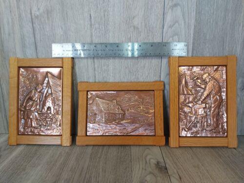 Lot of 3 Vintage Nadeau Embossed Copper Art Plaques Fait Au Quebec #222 239 237
