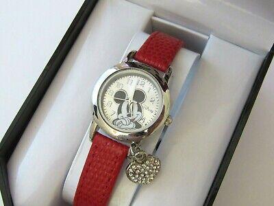 Disney Women's Mickey Mouse Genuine Red Lizard Strap with Charm Watch MK1018  Genuine Disney Mickey Mouse