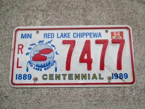Minnesota 1989 / 94 Centennial Red Lake Chippewa  license plate #    7477