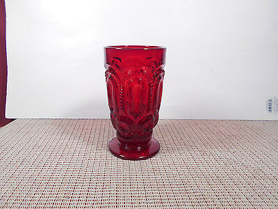 "L. G. Wright Glass Moon & Stars Ruby Iced Tea Glass 5 1/2"" x 3"""